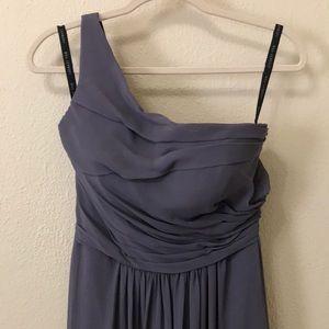 Bill Levkoff grey one shoulder bridesmaid dress, 6